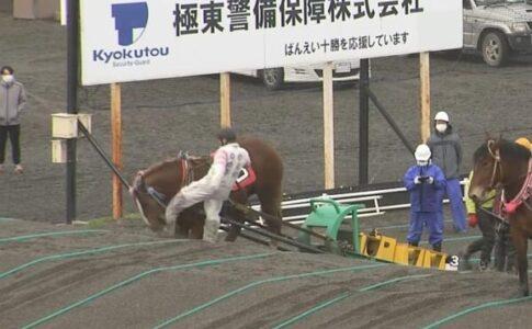 ばんえい競馬。馬の顔に蹴り。鈴木恵介騎手。